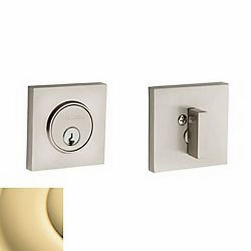 Baldwin 8220031 Contemporary Square Single Cylinder Deadbolt, Unlacquered Brass
