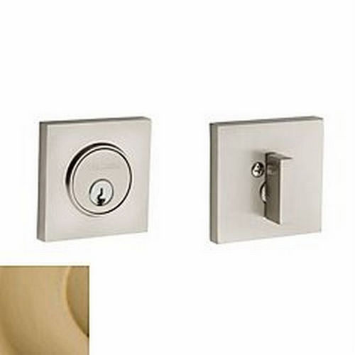 Baldwin 8220034 Contemporary Square Single Cylinder Deadbolt, Lacquered Vintage Brass