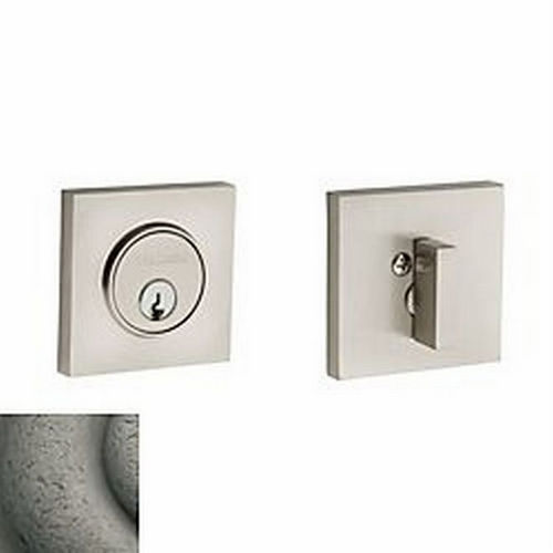 Baldwin 8220452 Contemporary Square Single Cylinder Deadbolt, Distressed Antique Nickel