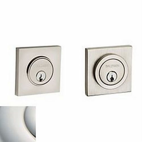 Baldwin 8221055 Contemporary Square Double Cylinder Deadbolt, Lifetime Bright Nickel