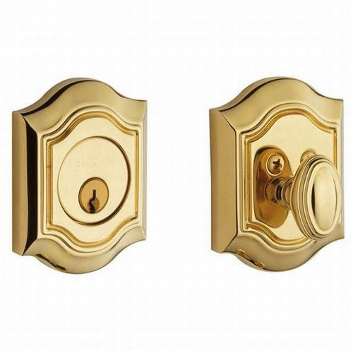 Baldwin 8237031 Bethpage Single Cylinder Deadbolt, Unlacquered Brass