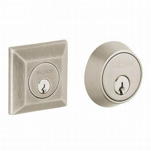 Baldwin 8255056 Cody Squared Double Cylinder Deadbolt, Lifetime Satin Nickel