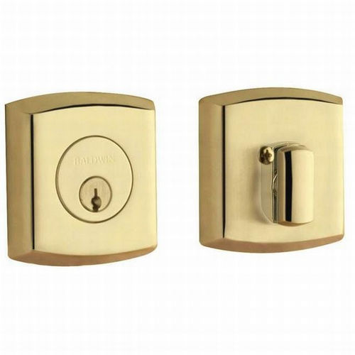 Baldwin 8285031 Soho Single Cylinder Deadbolt, Unlacquered Brass