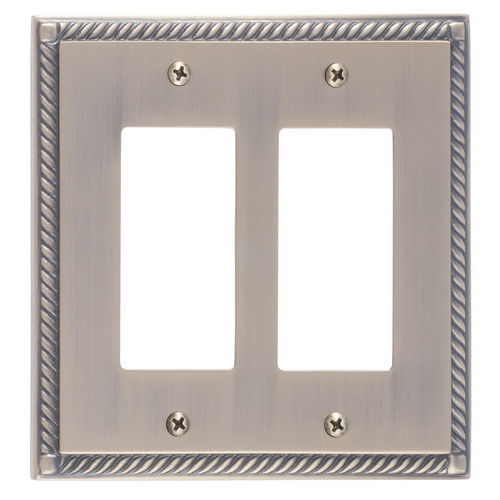 Brass Accents M06-S8570 Georgian Double GFCI, Antique Brass