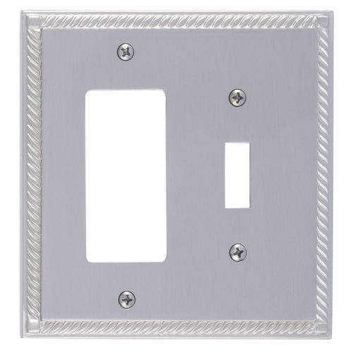 Brass Accents M06-S8571 Georgian Double, 1-Switch/1-GFCI, Satin Nickel