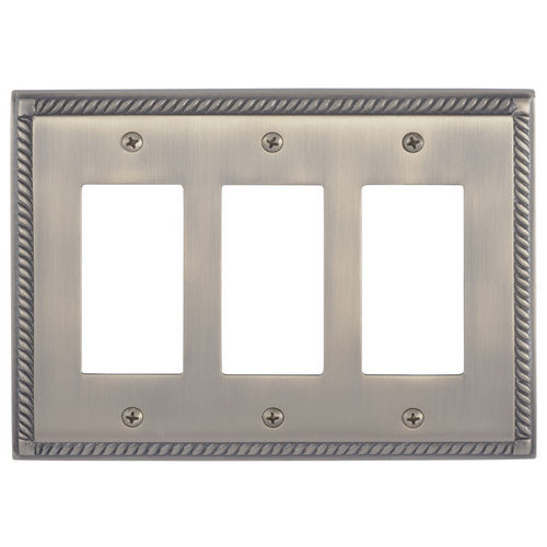 Brass Accents M06-S8590 Georgian Triple GFCI, Antique Brass
