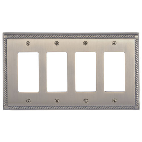 Brass Accents M06-S8592 Georgian Quad GFCI, Antique Brass