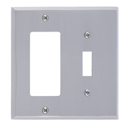 Brass Accents M07-S4571 Quaker Double; 1-Switch/1-GFCI, Satin Nickel