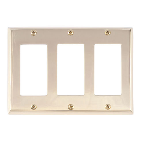 Brass Accents M07-S4590 Quaker Triple GFCI, Polished Brass