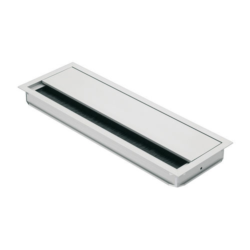 Hafele 631.29.913 Anodized Aluminum Grommet, Rectangular with Lid and Brush