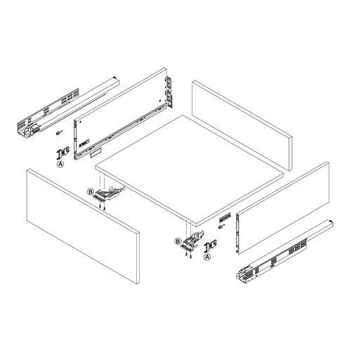 Hafele 550.47.750 Adapter Set for Grass Vionaro Drawer System for 89 Mm (3-1/2