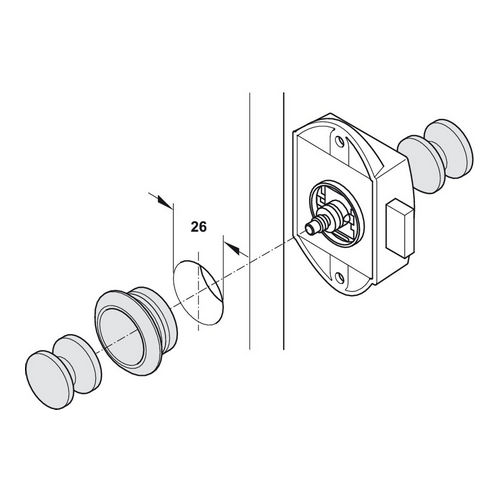 Hafele 211.63.712 Push-Lock, Operated From One Side, Each