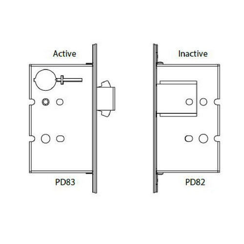 Hafele 911.26.832 Sliding/Pocket Door Lock, With Deadbolt for Active Door, Each