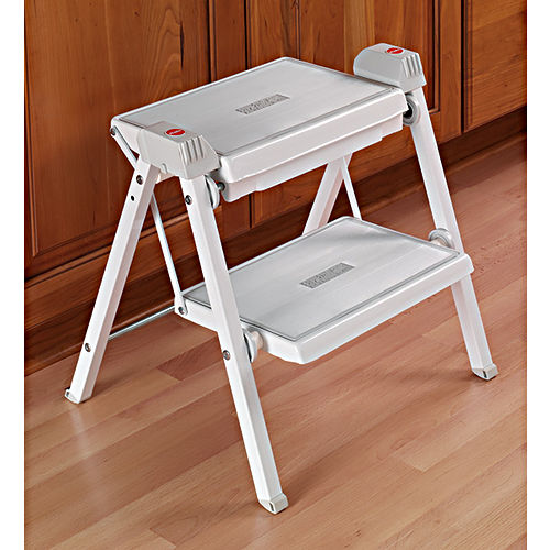 Hafele 505.04.704 Folding Step Stool, White/Gray