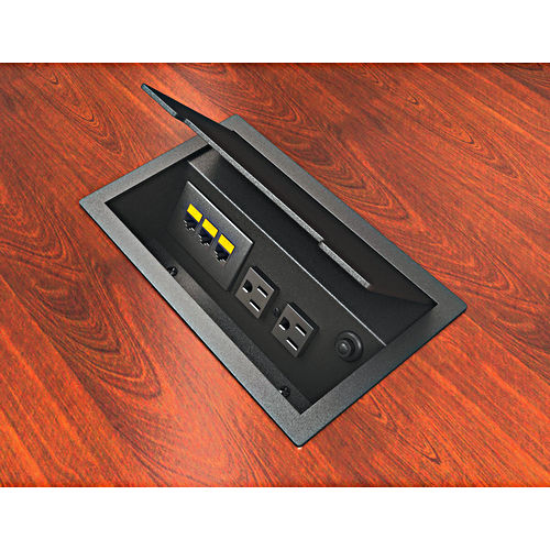 Hafele 822.74.310 Power/Data Outlet Flip Top, Black Textured