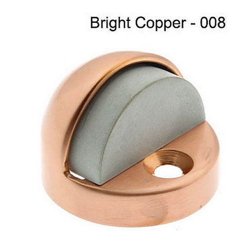 IDH 13070-008 High Dome Stop with Black & Grey Rubber Bumper, Bright Copper
