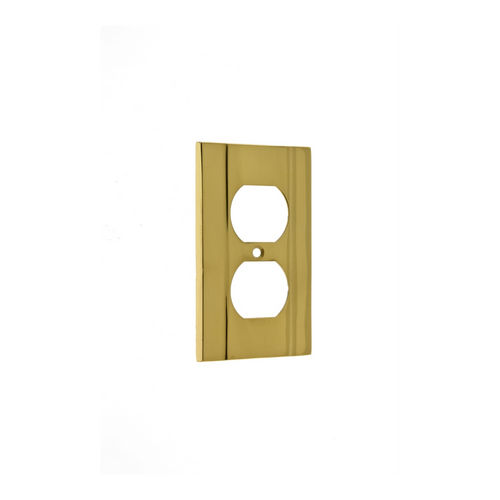 IDH 53002-003 Heavy Cast Single Receptacle Plate, Polished Brass