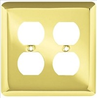 Franklin Brass W10250-PB-C Stamped Round Double Duplex Wall Plate/Switch Plate/Cover, Polished Brass