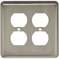 Franklin Brass W10250-SN-C Stamped Round Double Duplex Wall Plate/Switch Plate/Cover, Satin Nickel