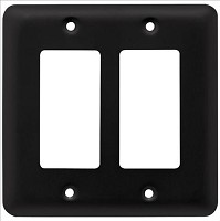 Franklin Brass W10252-FB-C Stamped Round Double Decorator Wall Plate/Switch Plate/Cover, Flat Black