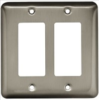 Franklin Brass W10252-SN-C Stamped Round Double Decorator Wall Plate/Switch Plate/Cover, Satin Nickel