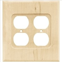 Franklin Brass W10398-UN-C Wood Square Double Duplex Wall Plate/Switch Plate/Cover, Unfinished Wood