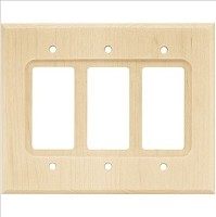Franklin Brass W10848-UN-C Wood Square Triple Decorator Wall Plate/Switch Plate/Cover, Unfinished Wood