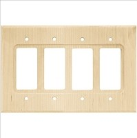 Franklin Brass W10851-UN-C Wood Square Quad Decorator Wall Plate/Switch Plate/Cover, Unfinished Wood
