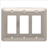 Franklin Brass W17956-SN-C Stamped Round Triple Decorator Wall Plate/Switch Plate/Cover, Satin Nickel