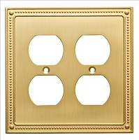 Franklin Brass W35064-BB-C Classic Beaded Double Duplex Wall Plate/Switch Plate/Cover, Brushed Brass