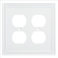 Franklin Brass W35064-PW-C Classic Beaded Double Duplex Wall Plate/Switch Plate/Cover, Pure White