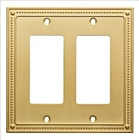 Franklin Brass W35065-BB-C Classic Beaded Double Decorator Wall Plate/Switch Plate/Cover, Brushed Brass
