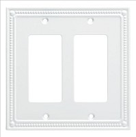 Franklin Brass W35065-PW-C Classic Beaded Double Decorator Wall Plate/Switch Plate/Cover, Pure White