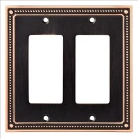 Franklin Brass W35065-SN-C Classic Beaded Double Decorator Wall Plate/Switch Plate/Cover, Bronze with Copper Highlights
