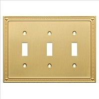 Franklin Brass W35066-BB-C Classic Beaded Triple Switch Wall Plate/Switch Plate/Cover, Brushed Brass