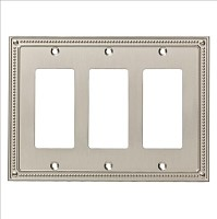 Franklin Brass W35067-SN-C Classic Beaded Triple Decorator Wall Plate/Switch Plate/Cover, Satin Nickel
