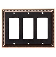 Franklin Brass W35067-VBC-C Classic Beaded Triple Decorator Wall Plate/Switch Plate/Cover, Bronze with Copper Highlights
