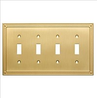 Franklin Brass W35068-BB-C Classic Beaded Quad Switch Wall Plate/Switch Plate/Cover, Brushed Brass