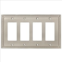 Franklin Brass W35069-SN-C Classic Beaded Quad Decorator Wall Plate/Switch Plate/Cover, Satin Nickel