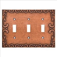 Franklin Brass W35078-CPS-C Classic Lace Triple Switch Wall Plate/Switch Plate/Cover, Sponged Copper