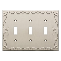Franklin Brass W35078-SN-C Classic Lace Triple Switch Wall Plate/Switch Plate/Cover, Satin Nickel