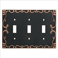 Franklin Brass W35078-VBC-C Classic Lace Triple Switch Wall Plate/Switch Plate/Cover, Bronze with Copper Highlights