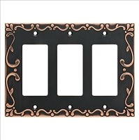 Franklin Brass W35079-VBC-C Classic Lace Triple Decorator Wall Plate/Switch Plate/Cover, Bronze with Copper Highlights