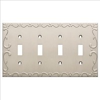 Franklin Brass W35080-SN-C Classic Lace Quad Switch Wall Plate/Switch Plate/Cover, Satin Nickel