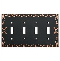 Franklin Brass W35080-VBC-C Classic Lace Quad Switch Wall Plate/Switch Plate/Cover, Bronze with Copper Highlights