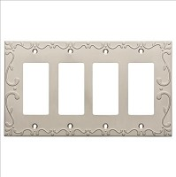 Franklin Brass W35081-SN-C Classic Lace Quad Decorator Wall Plate/Switch Plate/Cover, Satin Nickel