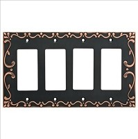 Franklin Brass W35081-VBC-C Classic Lace Quad Decorator Wall Plate/Switch Plate/Cover, Bronze with Copper Highlights