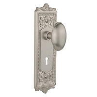 Nostalgic Warehouse 704202 Egg & Dart Plate with Keyhole Privacy Homestead Door Knob, Satin Nickel