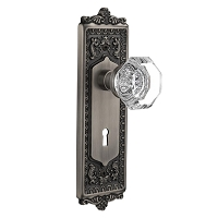 Nostalgic Warehouse 704249 Egg & Dart Plate with Keyhole Privacy Waldorf Door Knob, Antique Pewter
