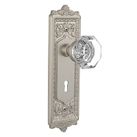 Nostalgic Warehouse 704250 Egg & Dart Plate with Keyhole Privacy Waldorf Door Knob, Satin Nickel